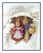 Mr and Mrs Rabbits Snow Day by Beatrix Potter Counted Cross Stitch Pattern