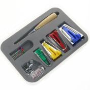 BIGTEDDY - Fabric Bias Tape Maker Kit for Sewing Quilting Awl and Adjustable Binder Foot w/ Case