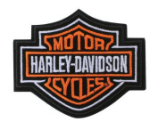 "Harley-Davidson Orange Bar & Shield Patch SM 10cm x 3 ½"" EMB302382"
