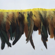Shekyeon 2yards Rooster Feather Fringe Trim for Costume decoration