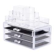 Makeup Storage Organiser,Oak Leaf Cosmetic Organiser and Jewerly Display Box - 3 Large Drawers Space- Saving,Clear, . Acrylic Bathroom Case