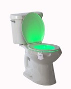 Magic Toilet Night Light - Motion Sensor Activated Toilet Bowl Bathroom Night Light - Battery Operated LED Lamp - 8 Changing Colours - Energy-Efficient Toilet Safety Light - Ideal For Potty Training
