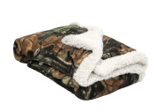 Trail Crest Infant Camo Soft Sherpa Lined Coral Fleece Baby Blanket W/ Magnet, Birch
