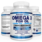 #1 Omega 3 Fish Oil 2250mg | HIGHEST EPA 1200MG + HIGHEST DHA 900MG Triple Strength Capsules | Essential Fatty Acid Combination Vitamin Nutritional Supplements | 120 Pills | BioScience Nutrition