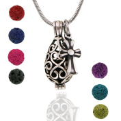 Maromalife Premium Teardrop Lava Stone Aromatherapy Essential Oil Diffuser Necklace Locket Pendant Gift Set with 60cm Chain and Multi-Coloured Beads