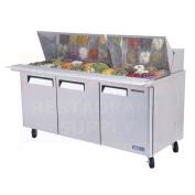 Turbo Air MST-72-30 180cm 3 Door Refrigerated Sandwich Prep Table   (30) 1/6 Pan Capacity