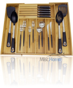 +Deluxe+ Expandable Bamboo Kitchen Drawer Organiser w/ Built-In Solid Bamboo Knife Block 100% Eco Friendly Adjustable Bamboo Kitchen Utensil & Cutlery Tray