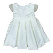 Petite Adele Baby Girls Ivory Dull Satin Beaded Flower Girl Dress 6-24M