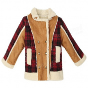 Calli Baby Children Boys Fur Leather Plaid Jacket Double-Breasted Coat