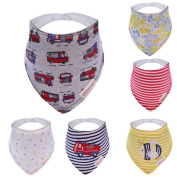 Hosee Baby and Toddler Bandana Bib - Absorbent 100% Cotton Front Dribble Bibs with Adjustable Straps (6 Pack Set) Boys