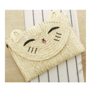 FAIRYSAN Novel Cat Cross Body Bag Clutch Bag Fashionable Cute Handbag Woven Straw Purse