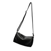 Moonsister Simple Casual Women Girls Genuine Leather Shoulder Bag, Black Small Mini Practical Everyday Crossbody Bag