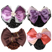 kilofly 4pc Women's Two-Way Snood Net Bow Barrette Hair Clip Bun Cover Set