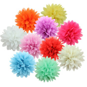 10Pcs Chiffon Flower Cluster Hair Clips Alligator Hair Barrettes Clip For Baby Girl Kids Children Clothing Accessories