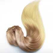 Silky Shine Remy Human Hair Clip in Extensions Ombre Blonde Dip Dye Two Colours Light Ash Brown to Bleach Blonde 70g/set