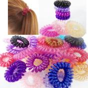 10 Kanddit® Spiral Random Colours Girls Hair Bobbles Bands Mini Ponytail Elastic Stretchy Hairband