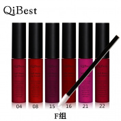 QiBest 2016 Mixed 6Colors/set Lip Gloss Lip Stick Liquid Matte Lipstick lip kit Vintage Long Lasting For Lip Makeup Cosmetics Beauty