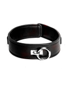 Faux Leather Black D-Ring Collar