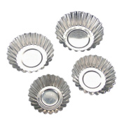 TININNA 20 Pcs Silver Tone Aluminium Egg Tart Mould Mould Makers Cupcake Cake Cookie Mould Base Tart Tins Baking Tool 6.5cm
