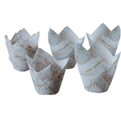 TININNA 50 Pcs Vintage Decorative Muffin Case Cupcake Baking Cups Wrapper Liners Muffin Cups 4#