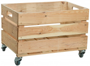 New Fruit Storage Crate with Wheels/Crate Apple Crate, Box from Altes Land Natural Dimensions Approx. 54X35X35 cm Natur mit Rollen