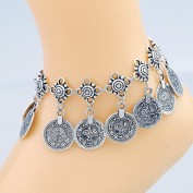 Women Ethnic Style Fashion Retro Alloy Coin Tassel Anklet