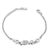 100% 925 Sterling Silver White Gold Plated Heart Hand CZ Women Bracelets With its Delicate Hearts Perfect Way to Say I Love You!Angel Love Bracelets .For Women Girls.16.5cm(6.5inches)+3.5cm