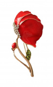 NEW Red, Gold, Green & Clear Rhinestone Crystal Poppy Brooch Pin Remembrance Day UK Seller