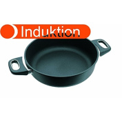 Gundel Cast Iron Casserole Dish Induction Diameter 26 CM Height 8 CM Titanium / Ceramic Surface PFOA- free and Battery-Therm base Oven-Safe handles