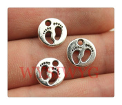 10pcs 11*11mm antique silver double side feet charms