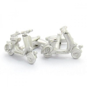 Mens Shirt Accessories - Chrome Scooter Cufflinks (With Black Presentation Box) - Novelty Transport Theme Jewellery