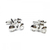 Mens Shirt Accessories - Plain Rhodium Plated Scooter Cufflinks (With Black Presentation Box) - Novelty Transport Theme Jewellery
