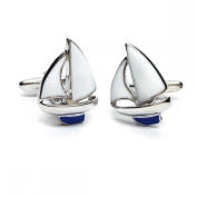 Mens Shirt Accessories - Blue Keel Yacht Sailing Cufflinks (With Black Presentation Box) - Novelty Transport Theme Jewellery