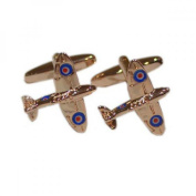 Mens Shirt Accessories - Rose Gold Coloured Spitfire Cufflinks (With Black Presentation Box) - Novelty Transport Theme Jewellery