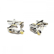 Mens Shirt Accessories - 2 Tone Scooter MOD Cufflinks (With Black Presentation Box) - Novelty Transport Theme Jewellery