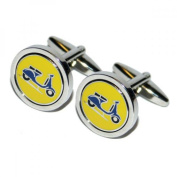 Mens Shirt Accessories - Blue Scooter MOD Cufflinks (With Black Presentation Box) - Novelty Transport Theme Jewellery