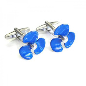 Mens Shirt Accessories - Blue Ships Propellor Cufflinks (With Black Presentation Box) - Novelty Transport Theme Jewellery
