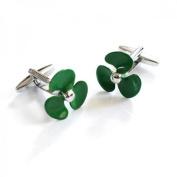 Mens Shirt Accessories - Green Ships Propellors Cufflinks (With Black Presentation Box) - Novelty Transport Theme Jewellery