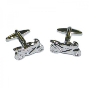 Mens Shirt Accessories - Rhodium Plated Sports Motorbike Cufflinks (With Black Presentation Box) - Novelty Transport Theme Jewellery