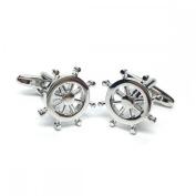 Mens Shirt Accessories - Ships Steering Wheel Cufflinks (With Black Presentation Box) - Novelty Transport Theme Jewellery