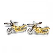 Mens Shirt Accessories - Two Tone Sporty Motorbikes Cufflinks (With Black Presentation Box) - Novelty Transport Theme Jewellery