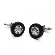 Mens Shirt Accessories - Tyre And Wheel Cufflinks (With Black Presentation Box) - Novelty Transport Theme Jewellery