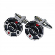 Mens Shirt Accessories - Poker Chip Cufflinks (With Black Presentation Box) - Novelty Casino Theme Jewellery