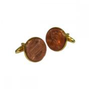 Mens Shirt Accessories - American 1 Cent Cufflinks (With Black Presentation Box) - Novelty Casino Theme Jewellery