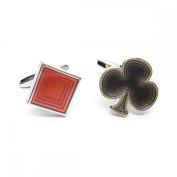 Mens Shirt Accessories - Diamonds & Clubs Card Suits Cufflinks (With Black Presentation Box) - Novelty Casino Theme Jewellery