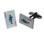 Mens Shirt Accessories - Playing Cards Joker Cufflinks (With Black Presentation Box) - Novelty Casino Theme Jewellery