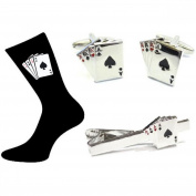 Mens Shirt Accessories - 4 Aces Playing Cards Gift Set (With Black Presentation Box) - Novelty Casino Theme Jewellery