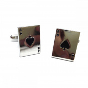 Mens Shirt Accessories - Ace of Spades Cufflinks (With Black Presentation Box) - Novelty Casino Theme Jewellery
