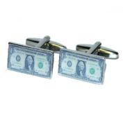 Mens Shirt Accessories - Dollar Bill Cufflinks (With Black Presentation Box) - Novelty Casino Theme Jewellery