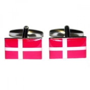 Mens Shirt Accessories - Denmark Flag Cufflinks (With Black Presentation Box) - Novelty World Flag Theme Jewellery